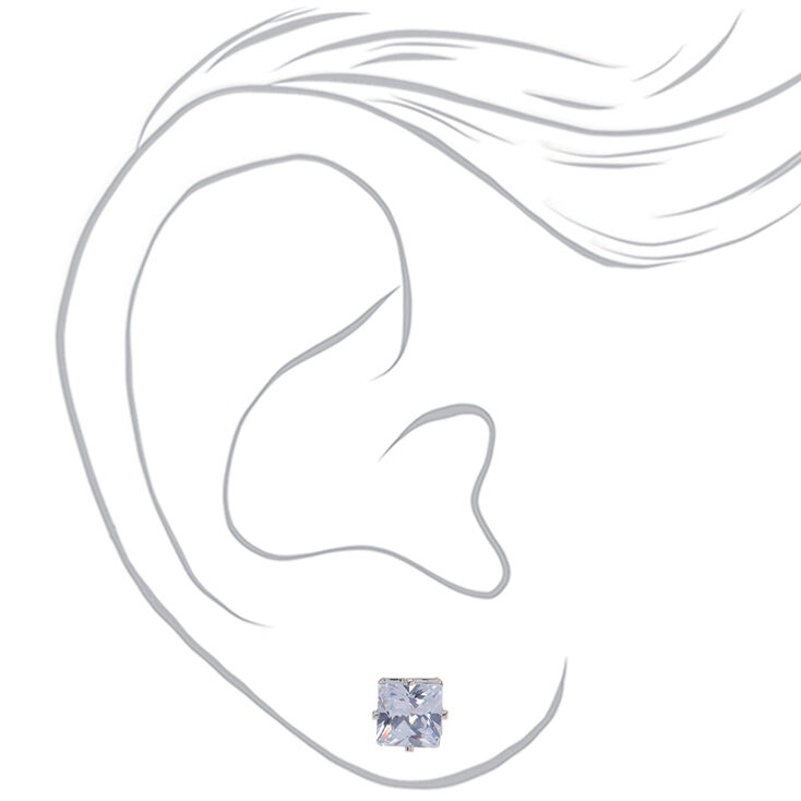 Silver Cubic Zirconia Graduated Square Stud Earrings - 3 Pack,