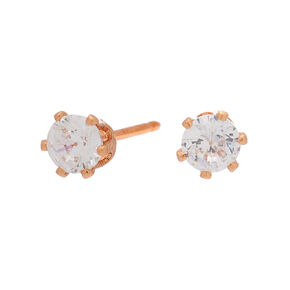 18kt Rose Gold Plated Cubic Zirconia 4MM Cupcake Stud Earrings,