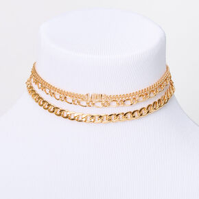 Gold Love Chain Choker Necklaces - 3 Pack,