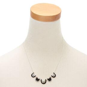 Silver Mini Bib Statement Necklace - Black,