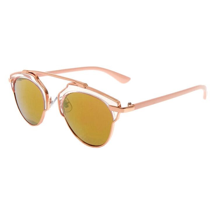 Rose Gold Clear Aviator Sunglasses,
