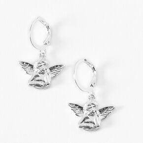 Silver 15MM Angel Huggie Hoop Earrings,
