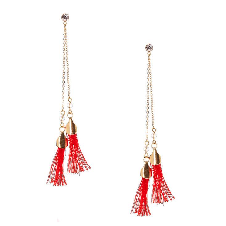 Red Tassel with Crystal Drop Earrings,