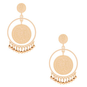 "Gold 2"" Coin Disk Drop Earrings,"