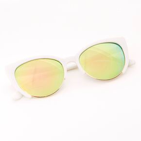 Browline Cat Eye Sunglasses - White,