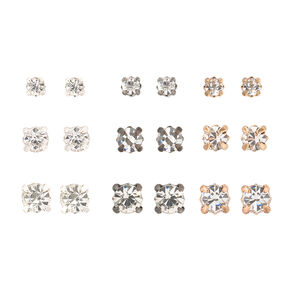 Mixed Metal Graduated Round Stud Earrings - 9 Pack,
