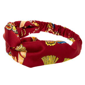 Silky Butterfly Chain Twisted Headwrap - Burgundy,