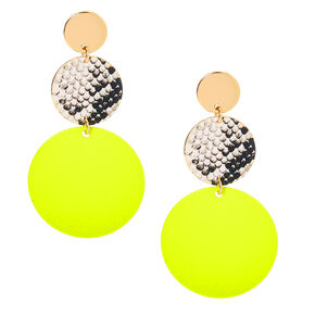 "Gold 2"" Neon Snakeskin Circle Drop Earrings - Yellow,"