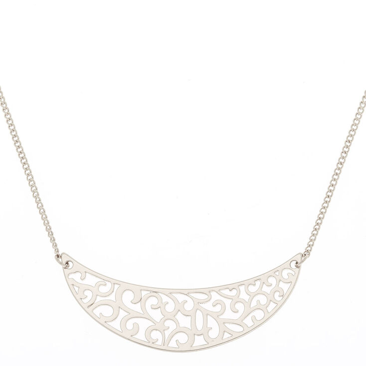 Silver Filigree Half Moon Pendant Necklace,