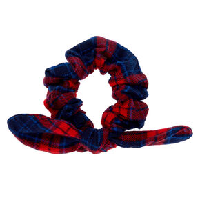 Red & Navy Plaid Knotted Bow Hair Scrunchie,