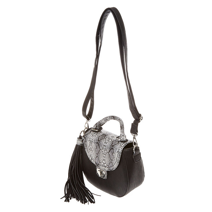 Faux Leather Black & Snake Skin Mini Crossbody Bag,