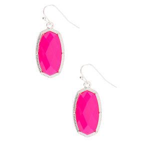 """Silver 1.5"""" Neon Stone Drop Earrings - Pink,"""