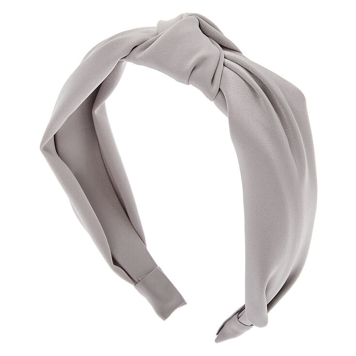 Satin Knotted Headband - Silver,