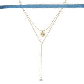 Three Pack Denim & Gold Choker Necklaces,