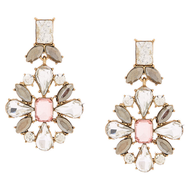 "Antique Gold 1.5"" Embellished Drop Earrings - Pink,"