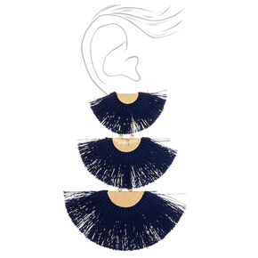 "4.5"" Tiered Crescent Tassel Drop Earrings - Navy,"