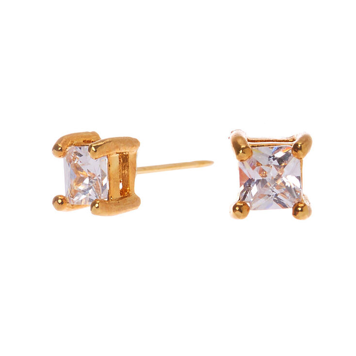 18kt Gold Plated Cubic Zirconia Square Stud Earrings - 3MM,