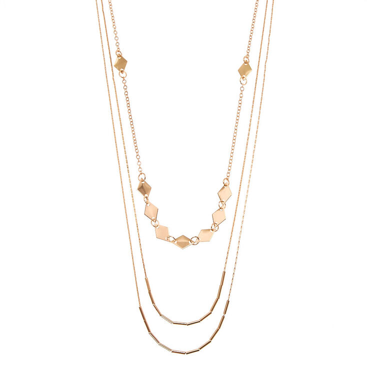 Rose Gold-Tone Diamond Disc Shape Multi-Strand Necklace,