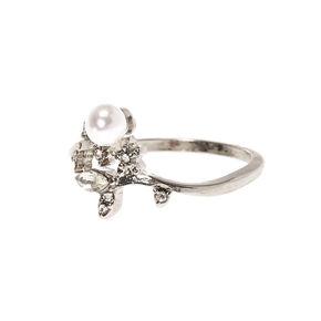 Silver Leafy Vine Pearl Ring,