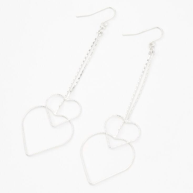 """Silver 3"""" Heart Chain Drop Earrings,"""
