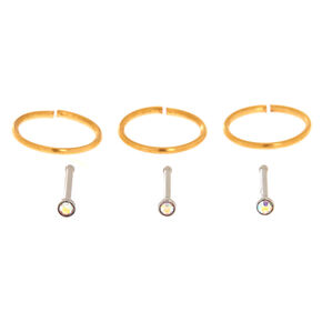 Gold 20G Cubic Zirconia Glam Nose Studs & Ring Set - 6 Pack,