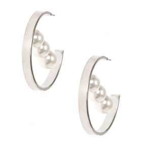 30MM Silver Tone  & Faux Pearl Trio Hoop Earrings,