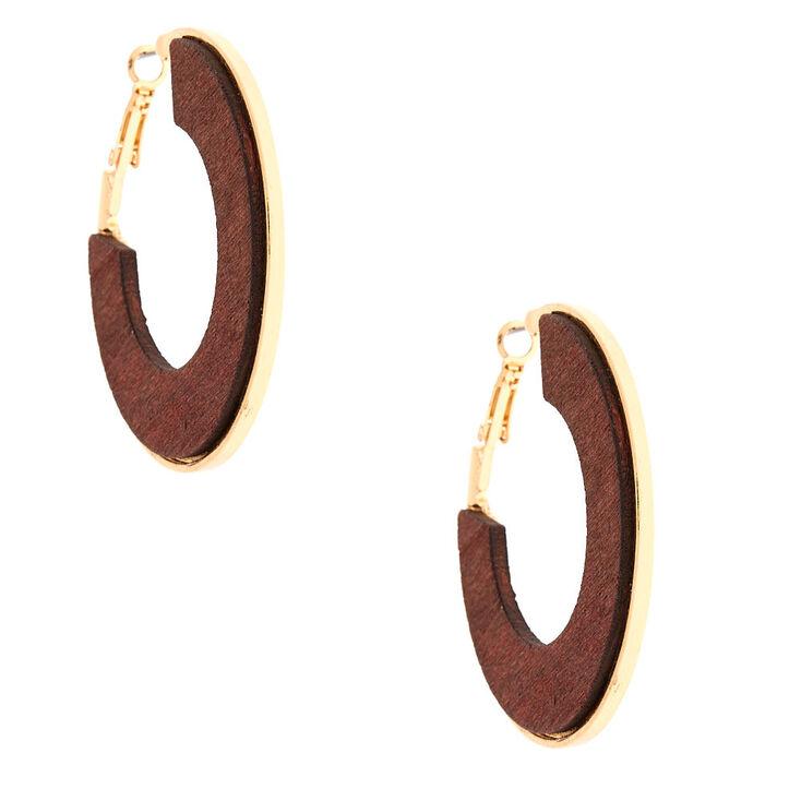 Gold 50MM Wood Hoop Earrings,