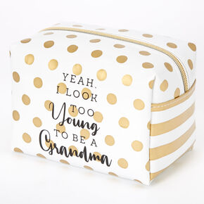 Too Young To Be A Grandma Polka Dot Makeup Bag - Gold,