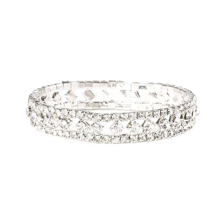 Rhinestone Diamonds & Chains Stretch Bracelet,
