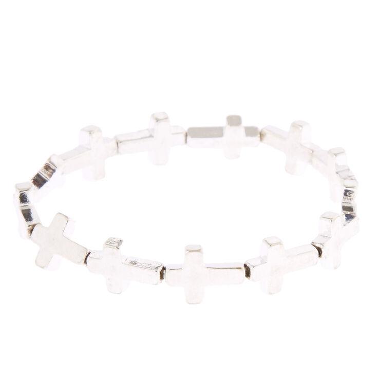 Silver-Tone Stretch Cross Bracelet,