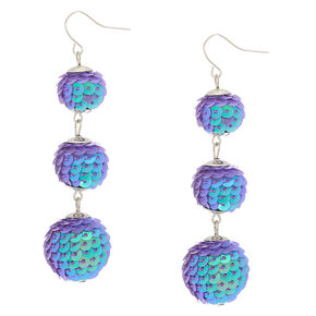"2.5"" Sequin Disco Ball Drop Earrings - Purple,"