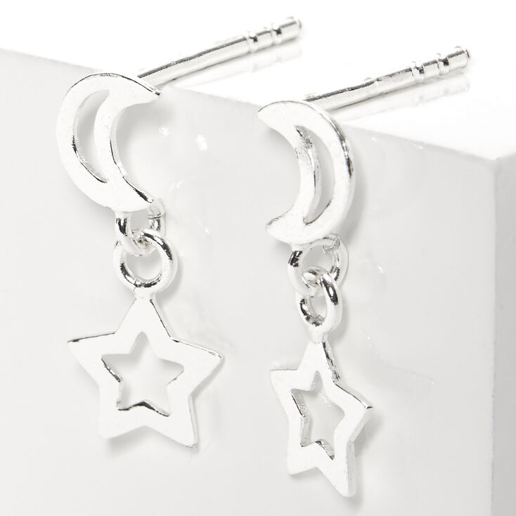 Sterling Silver Open Moon Star Stud Earrings,
