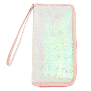 Iridescent Reversible Sequin Wristlet - White,