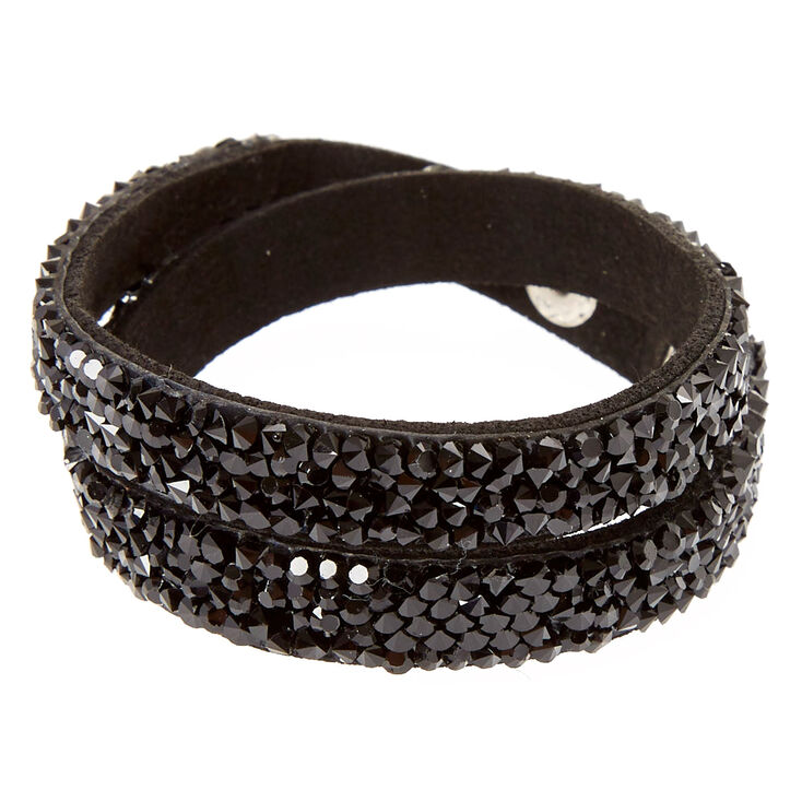 Black & Silver Gem Wrap Bracelet,