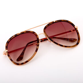 Outlined Tortoiseshell Aviator Sunglasses - Brown,