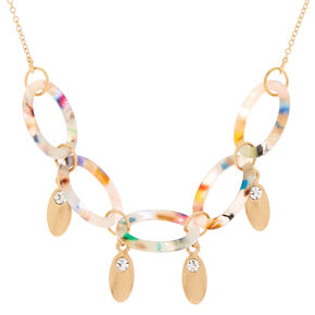 Resin Painted Link Statement Necklace,