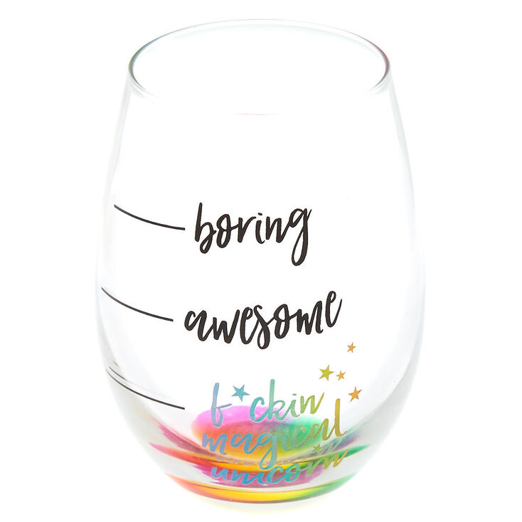 F*ckin Magical Unicorn Wine Glass - Rainbow,