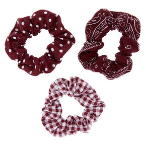 Bandana Print Mix Hair Scrunchies - Burgundy, 3 Pack,