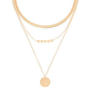 Gold Antique Coin Multi Strand Choker Necklace,
