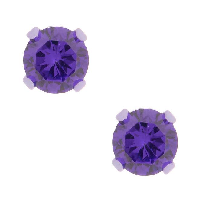 Purple Cubic Zirconia Stud Earrings,