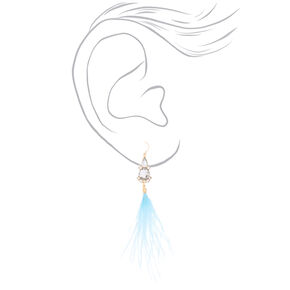 "Feather 5"" Drop Earrings - Blue,"