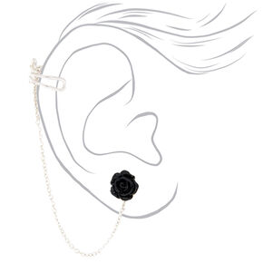 Carved Roses Connector Earrings - Black,
