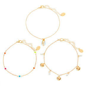 Gold Beaded Pearl Seashell Chain Anklets - 3 Pack,