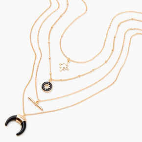 Gold & Black Enamel Multi Strand Necklace,