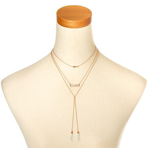 Rose Gold-Tone Triple Layer Long Necklace,