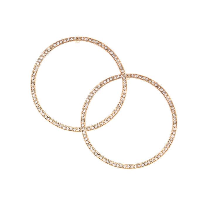 50MM Stoned Gold Hoop Stud Earrings,