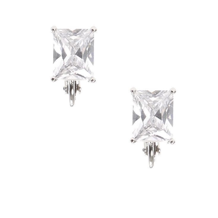 Silver Tone Framed Rectangle Cut Cubic Zirconia Stud Clip-on Earrings,