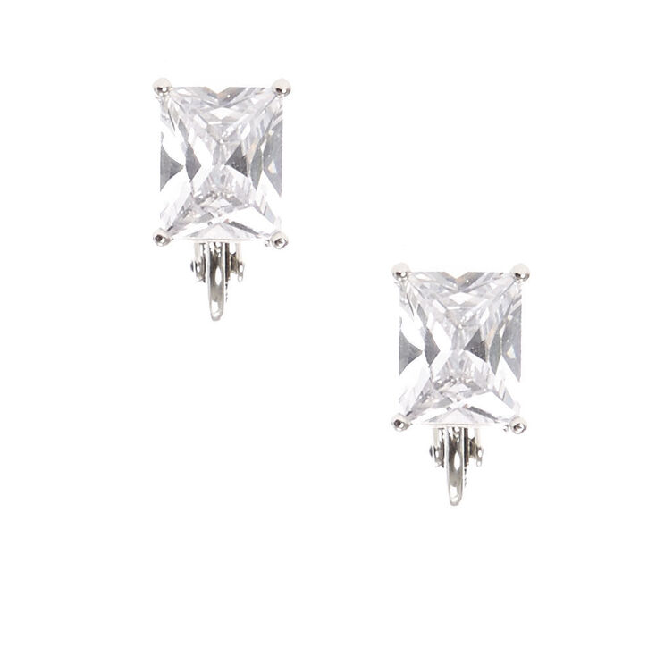 Silver Tone Framed Rectangle Cut Cubic Zirconia Stud Clip-on Earrings,