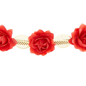 Rose Flower Crown Headwrap - Red,