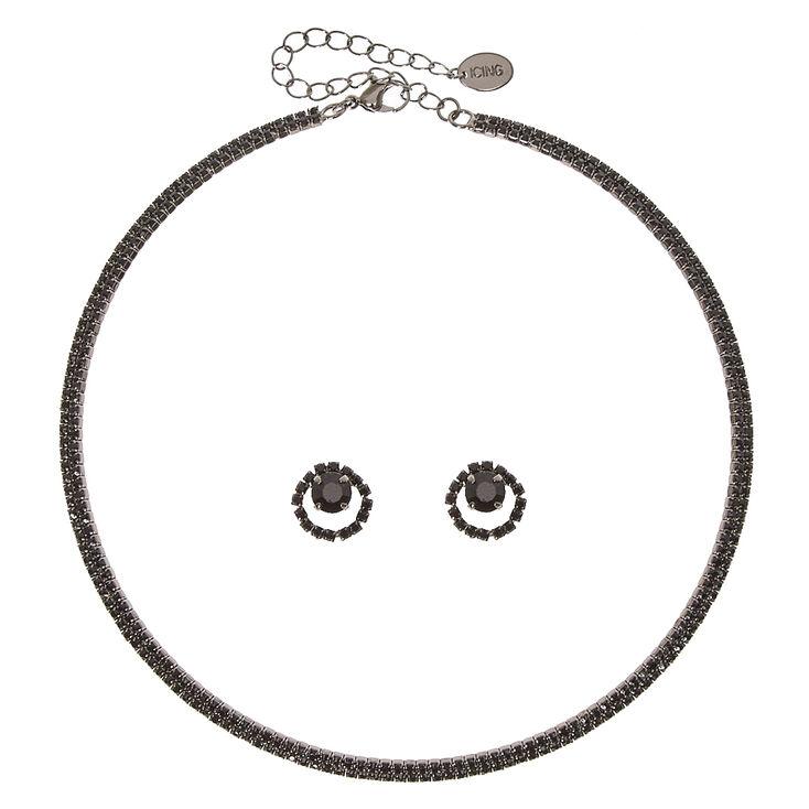 Jet Black Faux Crystal Jewelry Set,
